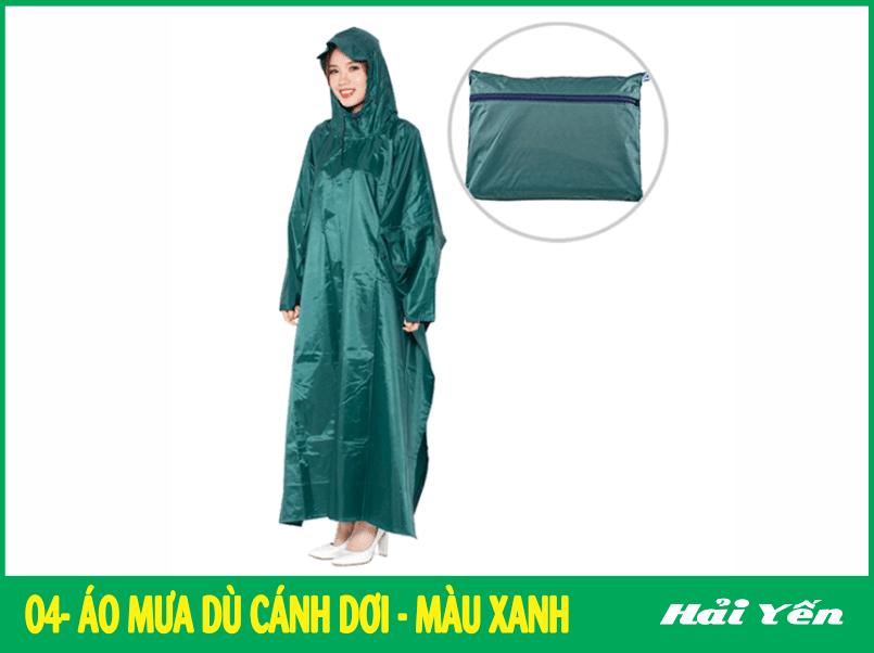 mẫu áo mưa đẹp màu xanh