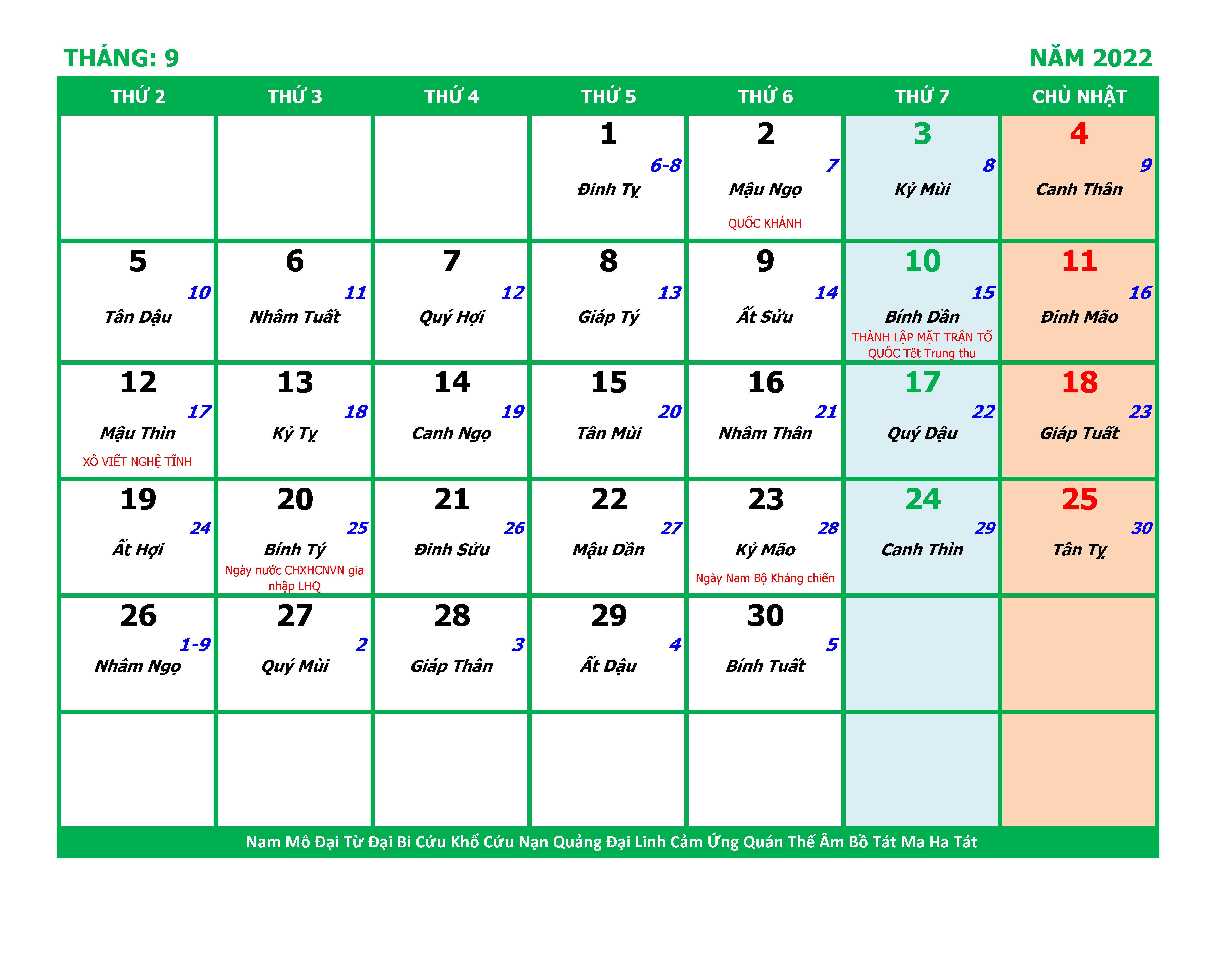 LỊCH THÁNG 9 NĂM 2022 NHÂM DẦN